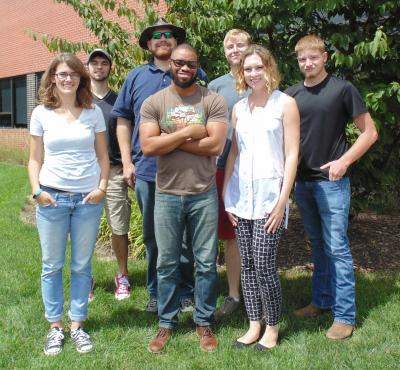 Predictive Plant Phenomics Program's Fall 2016 Cohort. Pictured front row (l to r) Katerina Holan, Therin Young, and Devin Molnau. Back row (l to r) Jacob Stai, James McNellie, Ian Braun, and Johnathon Shook